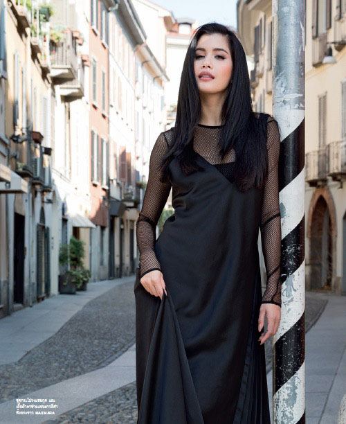Praya Lundberg at the Via Madonnina in Milan, wearing a black Max Mara dress for Marie Claire by Antonio de Moraes Barros Filho fashion photographer