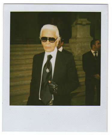 Polaroid picture of Karl Lagerfeld by Antonio Barros