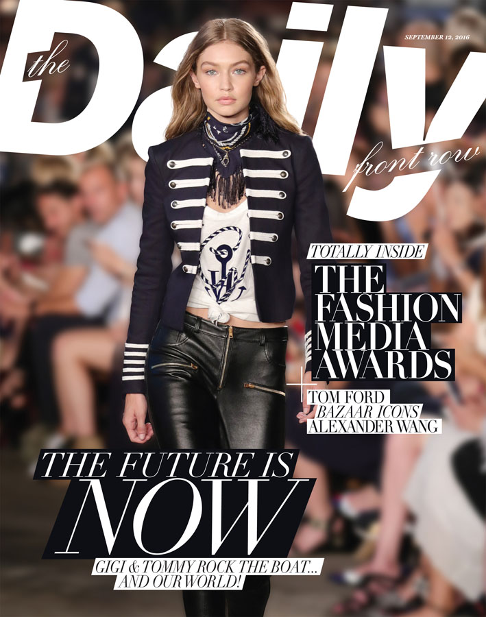 Cover of Daily Front Row magazine with Gigi Hadid. Antonio Barros photographe mode Paris