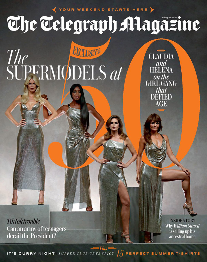Cover of The Telegraph Magazine with Claudia_Schiffer, Naomi Campbell, Cindy Crawford and Helena Christensen. The Supermodels at 50. Photo by Antonio Barros